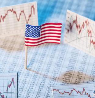 Mercados y bandera EEUU