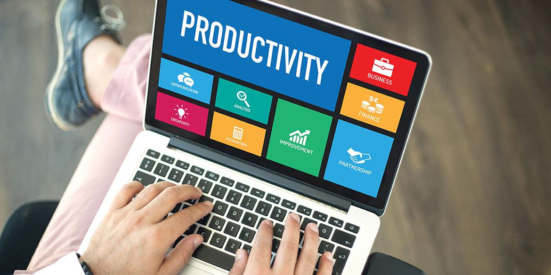 """Portátil muestra la palabra """"Productivity"""""""