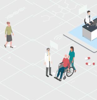 Ilustración de un centro de salud